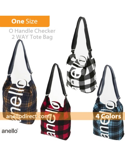 Anello O Handle Checker 2 Way Tote Bag Handbag AI-S0066