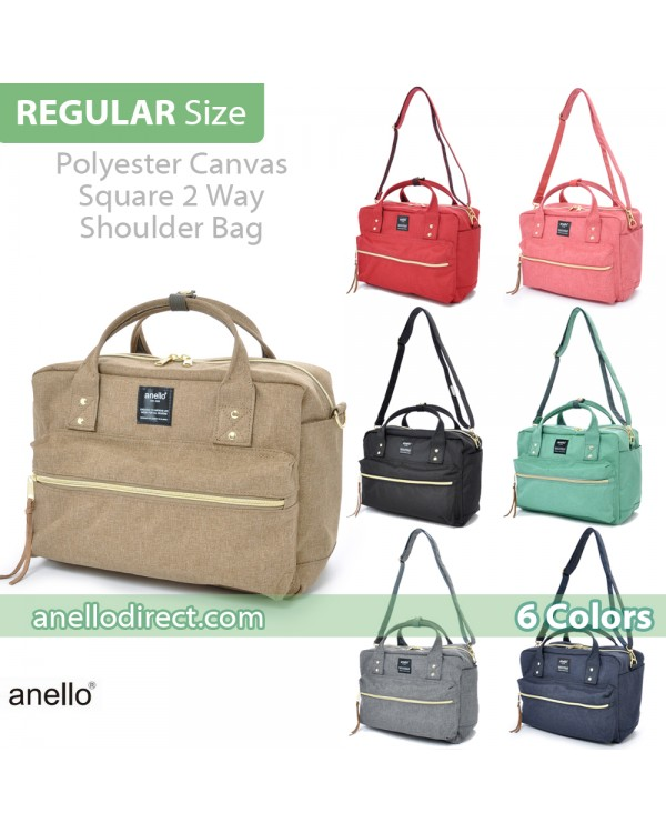 Anello Polyester Canvas Square 2 Way Shoulder Bag Regular Size AT-C1224