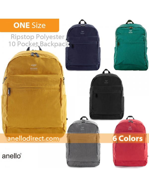 Anello Ripstop Polyester 10 Pocket Backpack Rucksack AT-H1811