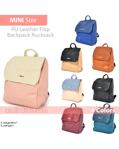 Legato Largo PU Leather Flap Backpack Rucksack Mini Size LH-27704