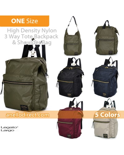 Legato Largo High Density Nylon 3 Way Tote Backpack & Shoulder Bag LH-C1794