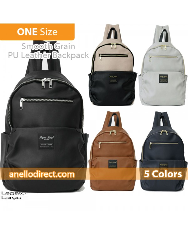 Legato Largo Smooth Grain PU Leather Backpack Rucksack LH-E0981