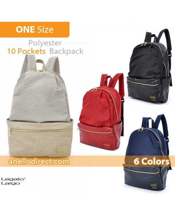 Legato Largo Polyester X PU 10 Pockets Backpack Rucksack LR-H1051