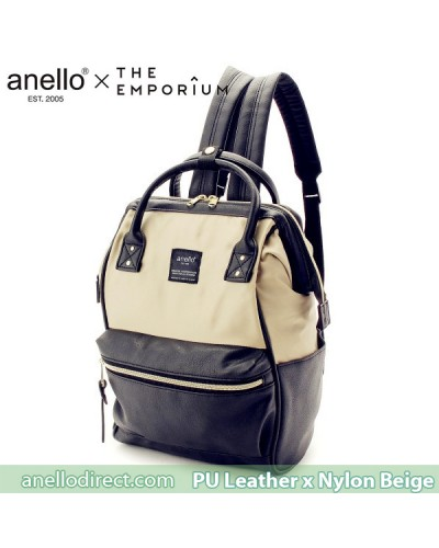 Anello X THE EMPORIUM Limited Edition PU Leather X Nylon Beige