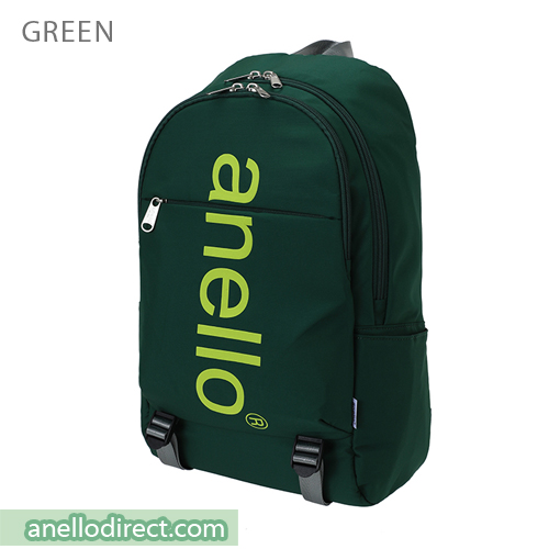 Anello Big Logo Print Polyester Backpack Rucksack AH-B2481 Green Japan Original Official Authentic Real Genuine Bag Free Shipping Worldwide Special Discount Low Prices Great Offer