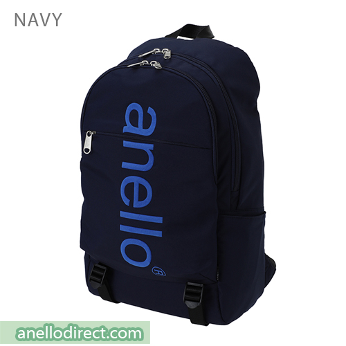 Anello Big Logo Print Polyester Backpack Rucksack AH-B2481 Navy Japan Original Official Authentic Real Genuine Bag Free Shipping Worldwide Special Discount Low Prices Great Offer