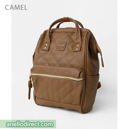 Anello Quilting PU Faux Leather Backpack Rucksack Mini Size AH-B3002 Camel Japan Original Official Authentic Real Genuine Bag Free Shipping Worldwide Special Discount Low Prices Great Offer