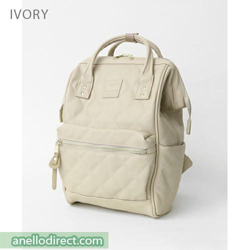 Anello Quilting PU Faux Leather Backpack Rucksack Mini Size AH-B3002 Ivory Japan Original Official Authentic Real Genuine Bag Free Shipping Worldwide Special Discount Low Prices Great Offer