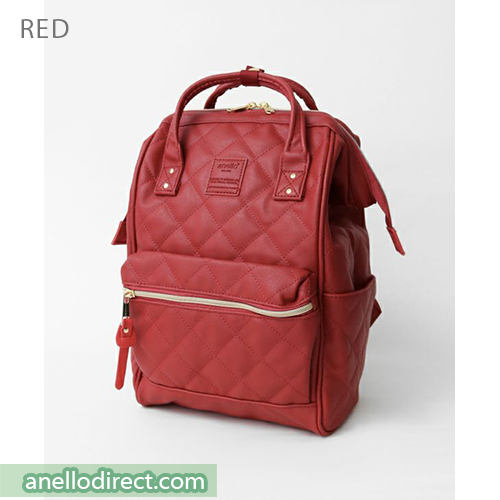 Anello Quilting PU Faux Leather Backpack Rucksack Mini Size AH-B3002 Red Japan Original Official Authentic Real Genuine Bag Free Shipping Worldwide Special Discount Low Prices Great Offer