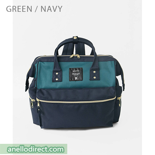 Anello KUCHIGANE Series First 3 Way Backpack Rucksack AH-C3332 Green x Navy Japan Original Official Authentic Real Genuine Bag Free Shipping Worldwide Special Discount Low Prices Great Offer