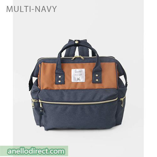Anello KUCHIGANE Series First 3 Way Backpack Rucksack AH-C3332 Navy Multi Japan Original Official Authentic Real Genuine Bag Free Shipping Worldwide Special Discount Low Prices Great Offer