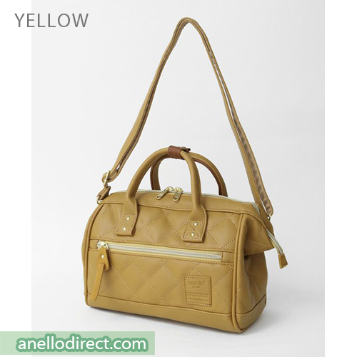 Anello Quilting PU Faux Leather 2 Way Shoulder Bag Handbag Mini Size AH-H1861 Yellow Japan Original Official Authentic Real Genuine Bag Free Shipping Worldwide Special Discount Low Prices Great Offer