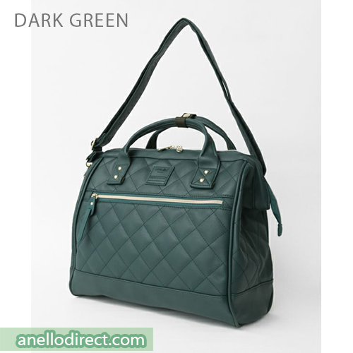 Anello Quilting PU Faux Leather 2 Way Shoulder Bag Handbag Regular Size AH-H1862 Dark Green Japan Original Official Authentic Real Genuine Bag Free Shipping Worldwide Special Discount Low Prices Great Offer