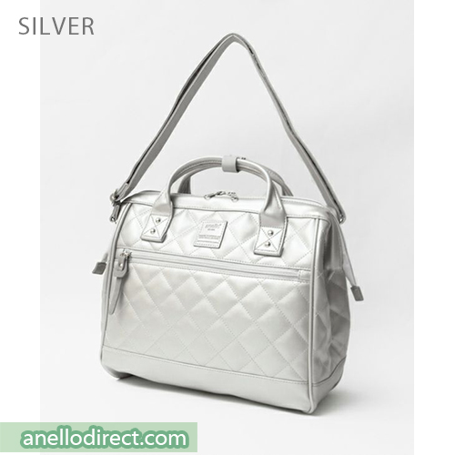 Anello Quilting PU Faux Leather 2 Way Shoulder Bag Handbag Regular Size AH-H1862 Silver Japan Original Official Authentic Real Genuine Bag Free Shipping Worldwide Special Discount Low Prices Great Offer