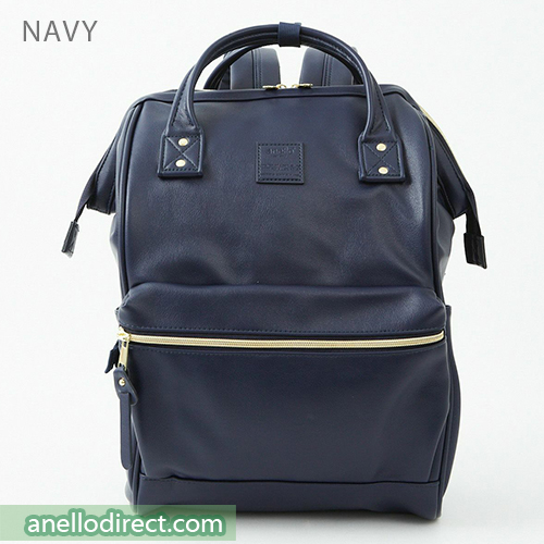Anello RETRO PU Leather Backpack Rucksack Large Size AHB3771 Navy Japan Original Official Authentic Real Genuine Bag Free Shipping Worldwide Special Discount Low Prices Great Offer