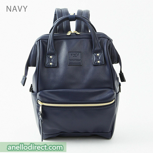 Anello RETRO PU Leather Backpack Rucksack Mini Size AHB3772 Navy Japan Original Official Authentic Real Genuine Bag Free Shipping Worldwide Special Discount Low Prices Great Offer