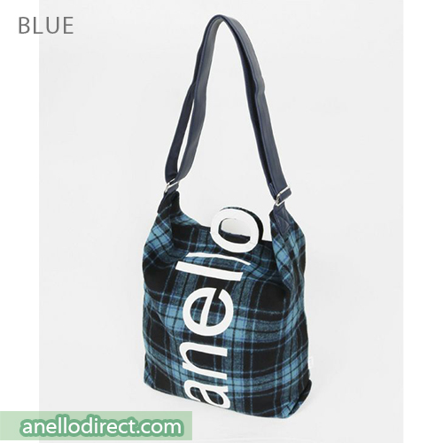 Anello O Handle Checker 2 Way Tote Bag Handbag AI-S0066 Blue Japan Original Official Authentic Real Genuine Bag Free Shipping Worldwide Special Discount Low Prices Great Offer