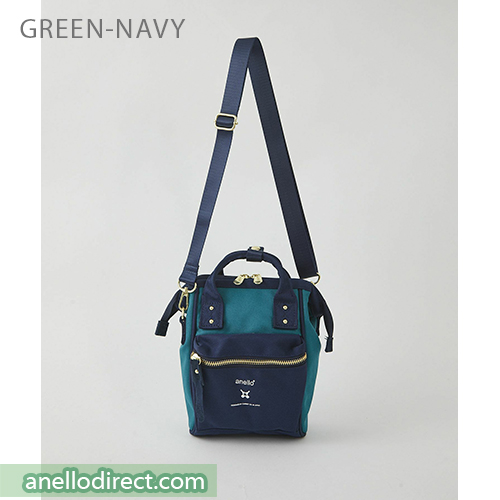 Anello RE-MODEL Polyester Canvas Mini Shoulder Bag ASO-S001 Green x Navy Japan Original Official Authentic Real Genuine Bag Free Shipping Worldwide Special Discount Low Prices Great Offer