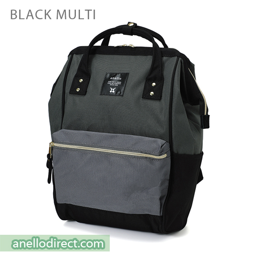 Anello Polyester Canvas Backpack Rucksack Regular Size AT-B0193A Black Multi Japan Original Official Authentic Real Genuine Bag Free Shipping Worldwide Special Discount Low Prices Great Offer