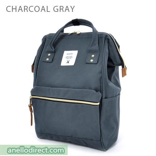 Anello Polyester Canvas Backpack Rucksack Regular Size AT-B0193A Charcoal Gray Japan Original Official Authentic Real Genuine Bag Free Shipping Worldwide Special Discount Low Prices Great Offer