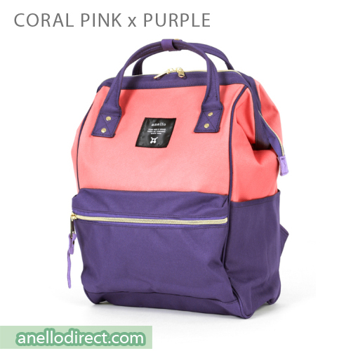 Anello Polyester Canvas Backpack Rucksack Regular Size AT-B0193A Coral Pink x Purple Japan Original Official Authentic Real Genuine Bag Free Shipping Worldwide Special Discount Low Prices Great Offer