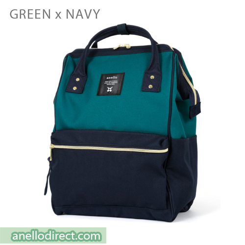 Anello Polyester Canvas Backpack Rucksack Regular Size AT-B0193A Green x Navy Japan Original Official Authentic Real Genuine Bag Free Shipping Worldwide Special Discount Low Prices Great Offer