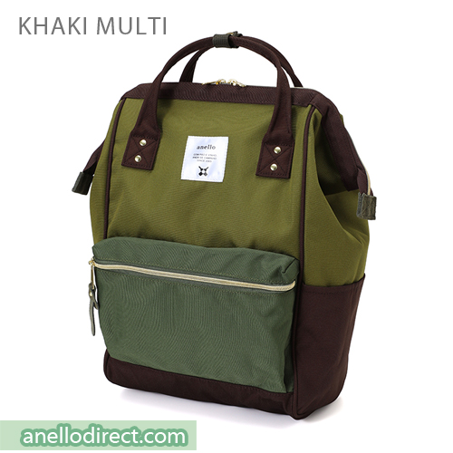 Anello Polyester Canvas Backpack Rucksack Regular Size AT-B0193A Khaki Multi Japan Original Official Authentic Real Genuine Bag Free Shipping Worldwide Special Discount Low Prices Great Offer