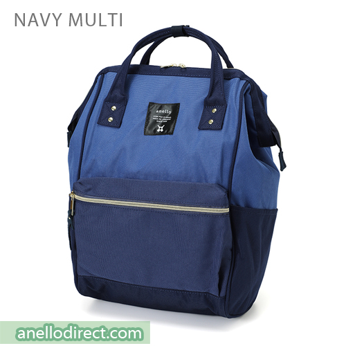 Anello Polyester Canvas Backpack Rucksack Regular Size AT-B0193A Navy Multi Japan Original Official Authentic Real Genuine Bag Free Shipping Worldwide Special Discount Low Prices Great Offer