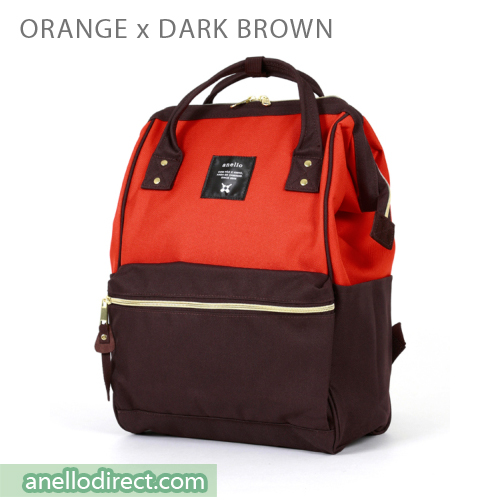 Anello Polyester Canvas Backpack Rucksack Regular Size AT-B0193A Orange x Dark Brown Japan Original Official Authentic Real Genuine Bag Free Shipping Worldwide Special Discount Low Prices Great Offer