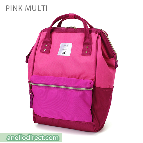 Anello Polyester Canvas Backpack Rucksack Regular Size AT-B0193A Pink Multi Japan Original Official Authentic Real Genuine Bag Free Shipping Worldwide Special Discount Low Prices Great Offer