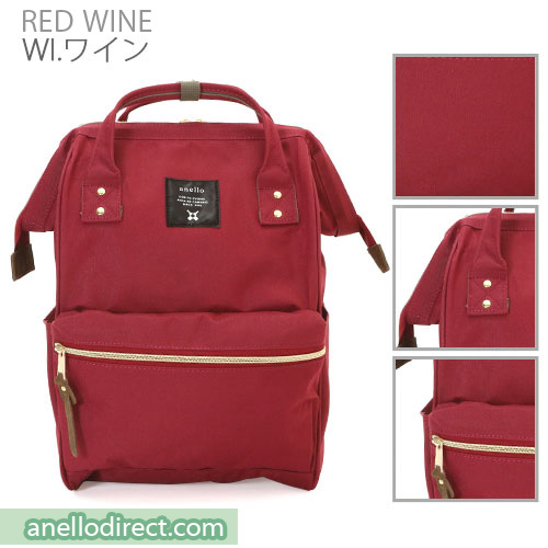 Anello Polyester Canvas Backpack Rucksack Regular Size AT-B0193A Red Wine Japan Original Official Authentic Real Genuine Bag Free Shipping Worldwide Special Discount Low Prices Great Offer