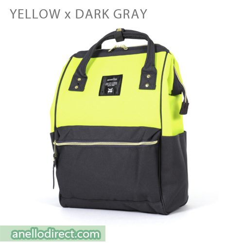 Anello Polyester Canvas Backpack Rucksack Regular Size AT-B0193A Yellow x Dark Gray Japan Original Official Authentic Real Genuine Bag Free Shipping Worldwide Special Discount Low Prices Great Offer