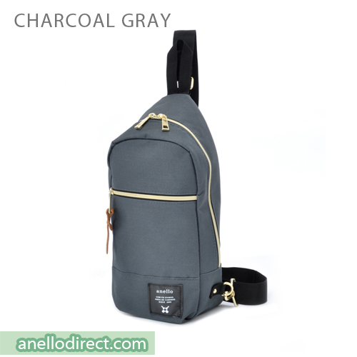 Anello Polyester Canvas Cross Vertical-Type Body Bag AT-B0194 Charcoal Gray Japan Original Official Authentic Real Genuine Bag Free Shipping Worldwide Special Discount Low Prices Great Offer