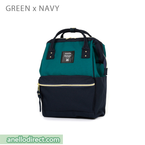 Anello Polyester Canvas Backpack Rucksack Mini Size AT-B0197B Green x Navy Japan Original Official Authentic Real Genuine Bag Free Shipping Worldwide Special Discount Low Prices Great Offer