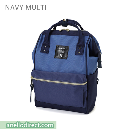 Anello Polyester Canvas Backpack Rucksack Mini Size AT-B0197B Navy Multi Japan Original Official Authentic Real Genuine Bag Free Shipping Worldwide Special Discount Low Prices Great Offer