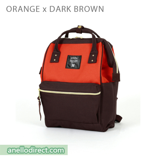 Anello Polyester Canvas Backpack Rucksack Mini Size AT-B0197B Orange x Dark Brown Japan Original Official Authentic Real Genuine Bag Free Shipping Worldwide Special Discount Low Prices Great Offer
