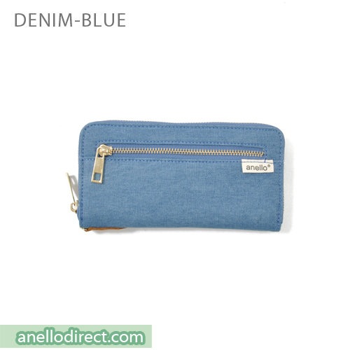 Anello Canvas Long Wallet AT-B0933 Denim Blue Japan Original Official Authentic Real Genuine Bag Free Shipping Worldwide Special Discount Low Prices Great Offer