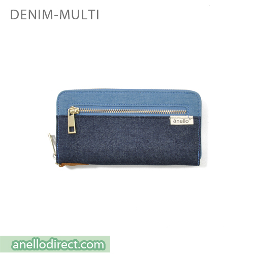 Anello Canvas Long Wallet AT-B0933 Denim Multi Japan Original Official Authentic Real Genuine Bag Free Shipping Worldwide Special Discount Low Prices Great Offer