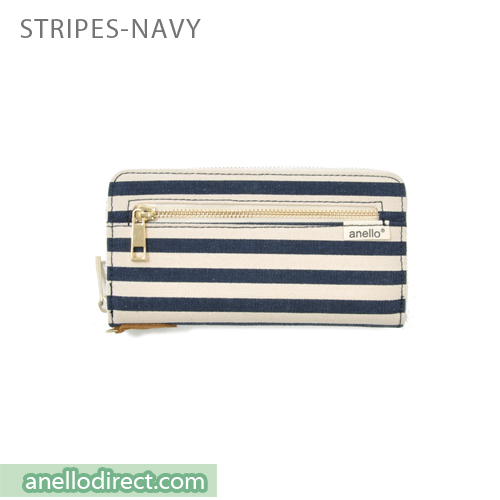 Anello Canvas Long Wallet AT-B0933 Stripes Navy Japan Original Official Authentic Real Genuine Bag Free Shipping Worldwide Special Discount Low Prices Great Offer