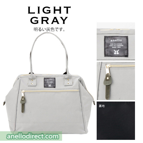 Anello Boston Polyester Canvas Shoulder Bag AT-B1221 Light Gray Japan Original Official Authentic Real Genuine Bag Free Shipping Worldwide Special Discount Low Prices Great Offer