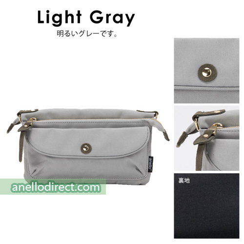 Anello Polyester Canvas Pakapaka Shoulder Bag & Clutch AT-B1223 Light Gray Japan Original Official Authentic Real Genuine Bag Free Shipping Worldwide Special Discount Low Prices Great Offer