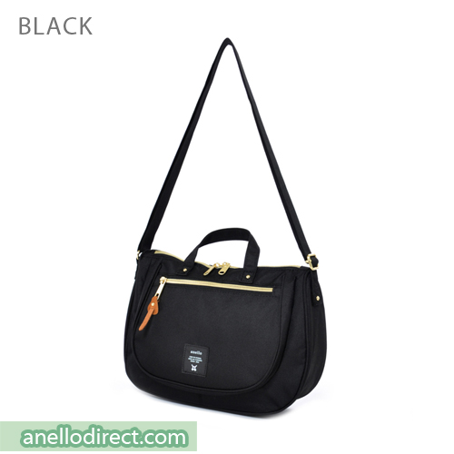Anello Oval Type Polyester Canvas Shoulder Bag AT-B1229 Black Japan Original Official Authentic Real Genuine Bag Free Shipping Worldwide Special Discount Low Prices Great Offer