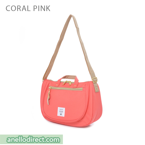 Anello Oval Type Polyester Canvas Shoulder Bag AT-B1229 Coral Pink Japan Original Official Authentic Real Genuine Bag Free Shipping Worldwide Special Discount Low Prices Great Offer