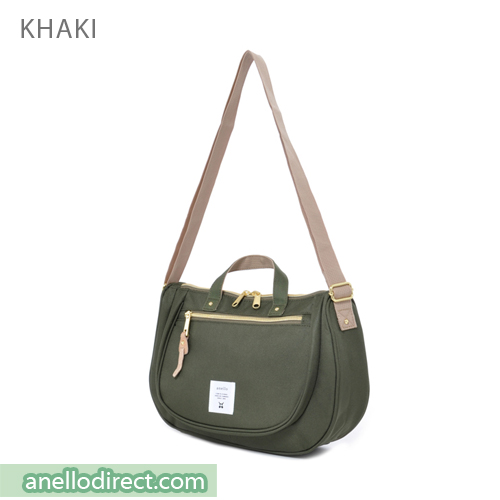 Anello Oval Type Polyester Canvas Shoulder Bag AT-B1229 Khaki Japan Original Official Authentic Real Genuine Bag Free Shipping Worldwide Special Discount Low Prices Great Offer