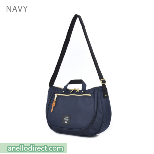 Anello Oval Type Polyester Canvas Shoulder Bag AT-B1229 Navy Japan Original Official Authentic Real Genuine Bag Free Shipping Worldwide Special Discount Low Prices Great Offer
