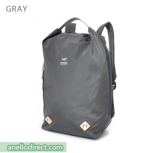Anello Logo Print Oval Type Backpack Rucksack AT-B1625 Gray Japan Original Official Authentic Real Genuine Bag Free Shipping Worldwide Special Discount Low Prices Great Offer