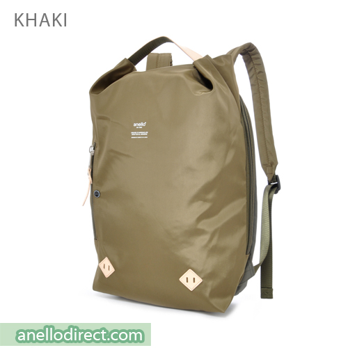 Anello Logo Print Oval Type Backpack Rucksack AT-B1625 Khaki Japan Original Official Authentic Real Genuine Bag Free Shipping Worldwide Special Discount Low Prices Great Offer