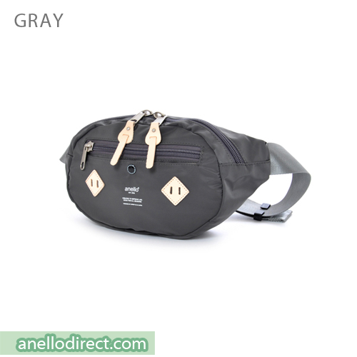 Anello Logo Print Polyester Shoulder Waist Bag AT-B1626 Gray Japan Original Official Authentic Real Genuine Bag Free Shipping Worldwide Special Discount Low Prices Great Offer