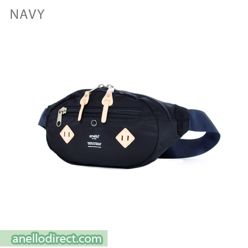 Anello Logo Print Polyester Shoulder Waist Bag AT-B1626 Navy Japan Original Official Authentic Real Genuine Bag Free Shipping Worldwide Special Discount Low Prices Great Offer