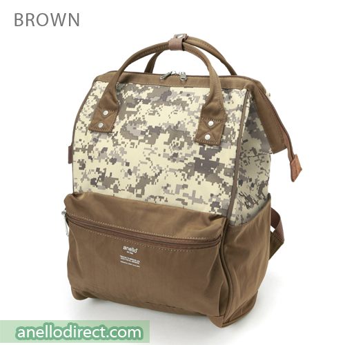 Anello Digital Camo Polyester Backpack Rucksack AT-B2241 Brown Japan Original Official Authentic Real Genuine Bag Free Shipping Worldwide Special Discount Low Prices Great Offer